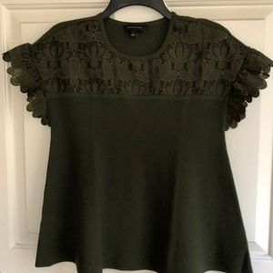 Green Ann Taylor Flare laced sweater